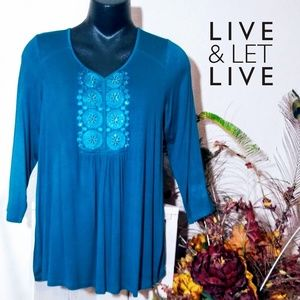 Live & Let Live One World Blue Turquoise Blouse